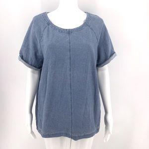 BODEN Top US 16 Light Blue Stretch Short Sleeves